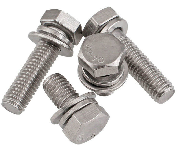 A2 - 70 Stainless Steel Sems Screws , Hexagon Head Sems Fasteners Washer Assemblies